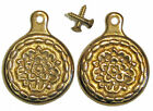 CAST BRASS BED BOLT COVER, Polished Brass or Antique Brass Finish, Sold in Pairs