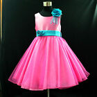 HP668 Hot Pink Blue Princess Wedding Party Flower Girls Dresses AGE 1 to 12Years