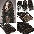 2Pcs Remy Deep Wavy Curly Hair Extensions Weft +1x halve hairline Lace curly Wig