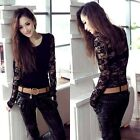 Stretch O Neck Hollow Out Floral Lace Patchwork Womens Fitted Top Shirt Blouse E