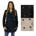 Jessica Simpson Faux Leather Sleeve Trench Coat Jacket Belted