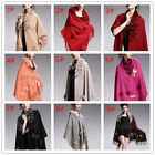 Chic Women Cashmere Shawl With Real Rex Rabbit Fur Flower Scarves Cape QD29264