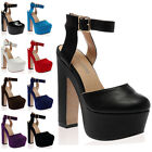New Ladies Round Toe Womens Ankle Strap Chunky Platform High Heel Shoes Size 3-8