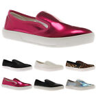 NEW WOMENS ELASTICATED LADIES SLIP ON TRAINERS PLIMSOLLS PUMPS SHOES SIZE 3-8