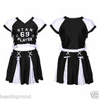 CHEERLEADER FANCY DRESS OUTFIT SPORTS TEAM COSTUME WOMENS UNIFORM TOP + SKIRT