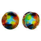 PAIR Of 2 Rainbow Spotted Color Pyrex Glass Plugs Double Flare Choose Gauge Size