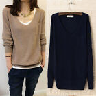 Women Popular Multicolor Knitted V-Neck Pocket Casual Loose Pullover Sweater