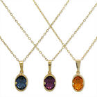 Gold Filled 18k Crystal Pendant Necklace Charm & Chain Teens Lady Oval