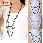 high quality sparkly crystal drop & butterfly & ball long necklace Japan fashion