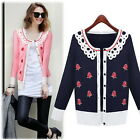Womens Knitwear Long Sleeve Floral Doll Collar Knitted Jumper Cardigans Sweater