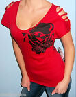 New METAL MULISHA MAIDENS Red SLASHED SHOULDER T Shirt Top S M L XL
