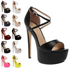 Ladies Peep Toe Womens Platform Cross Over Strap Stiletto High Heel Shoes Size 3
