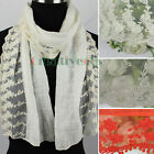 Embroidery Lace Stitching Cotton Gauze Trim Lace Tassels Long Scarf Shawl Wrap