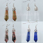 Lapis Lazuli Jasper Hexagonal Beads Dangle Earrings Pair Jewelry BR042