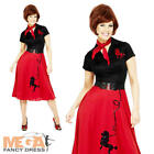 50s Red Poodle Fancy Dress Ladies Grease Costume 1950s Womens Outfit UK 12-22
