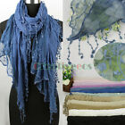 Embroidery Lace Floral Stitching Cotton Gauze Scarf Wrap Long Lace Trim Tassel
