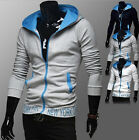 New Men British Temperament Embroidered Hooded Sweater Tops Coat-CA HF