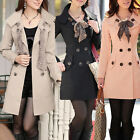 Womens Long Sleeve Slim Fit Trench Double Breasted Coat Jacket Scarf OutwearUSBD
