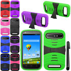 For ZTE Warp Sync N9515 KICK STAND HYBRID Rubber HARD Case Cover Accessory + Pen