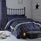 Catherine Lansfield Glencoe Tartan Navy Blue Red Duvet Quilt Cover Bedding Set