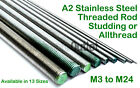 A2 Stainless Steel Threaded Rod Studding M3 - M24 Diameter  All x 1 Mtr Lengths