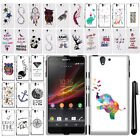 For Sony Xperia Z C6603 C6606 Cute Design PATTERN HARD Case Phone Cover + Pen
