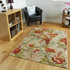 Thin Modern Fashionable Multi Floral Rugs Fine Synthetic Bird Print Lounge Mats