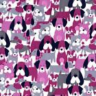 DOG DAN IT - JEWEL PINK / GREY - MICHAEL MILLER COTTON FABRIC dogs doggies