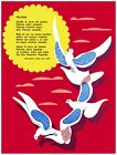 9728.Paloma.birds flying over red sky.yellow sun.POSTER.decor Home Office art