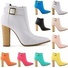 WOMENS LADIES MATT PU LEATHER HIGH HEELS AUTUMN ANKLE BOOTS SHOES SIZE AU3.5-8.5