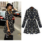 Autumn Womens Lapel Long Sleeve Tunic Casual Mini Shirt Dress Stars Print Black