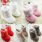 Infants Crochet/Knit Fleece Boots Toddler Girl Wool Snow Crib Shoes Booties
