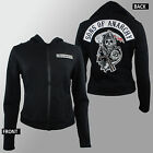 Authentic SONS OF ANARCHY Women's Patch Logo Highway Fleece Jacket S-2XL NEW