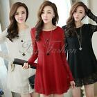 Women Lace Long Sleeve Jumper Blouse T Shirt Loose Tunic Top UK 8 10 12 14 16 18
