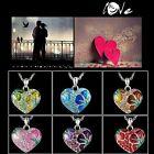 New Fashion Silver White Chain Necklace With Heart Pendant Crystal Sweater Gift