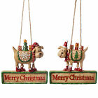 Hanging Wood Look Resin Festive Dog 'Merry Christmas' Message Wall Art Sign