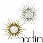 ACCTIM STELLA WALL CLOCK STARBURST 43CM GOLD CHROME 21767 21760  NEW