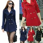 New Women's Slim double-breasted wool trench coat jacket Outerwear Overcoat