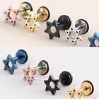 E046/PAIR 316 Titanium steel Six-pointed star Stud Earrings Prevent allergy GIFT