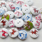 E640 10/50/100/500pcs Santa Christmas Deer Wood Buttons 20mm Sewing Mix Lots