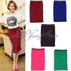 Hot Sexy Lady Dress High Waisted Belted Pencil Skirt Stretch Bodycon Knee Length