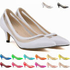 Ladies Mid Kitten Heels PU Patent Leather Pointed Saint Pumps Shoes Size 2-9