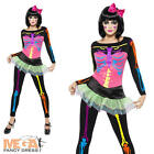 Skeleton Neon Costume + Tights Ladies Halloween Womens Adult Fancy Dress Outfit
