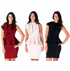 AJ58 Womens Sleeveless Ruffle Side Peplum Frill Stretch Bodycon Midi Party Dress