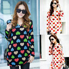 Korean Style Women Hearts Print Long Sleeve Casual T-shirts Pullover Blouse Tops