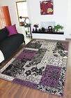 Purple Black Light Dark Grey Patchwork Rug Stain Resistant Milan Lounge Mat Sale