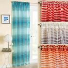 "BARBADOS STRIPE VOILE CURTAIN PANEL READY MADE SLOT TOP PANELS 54"" 72"" 90"""
