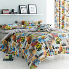 Catherine Lansfield Retro Vintage 50s Fifties Cars Duvet Quilt Cover Bedding Set