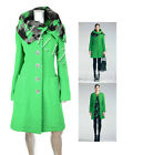 UNIQUE SAVE THE QUEEN COAT GREEN WOOL REMOVABLE COLLAR