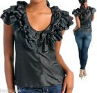 Black Ruffle Front Lace-Up Back Cap Sleeve Top S/M/L